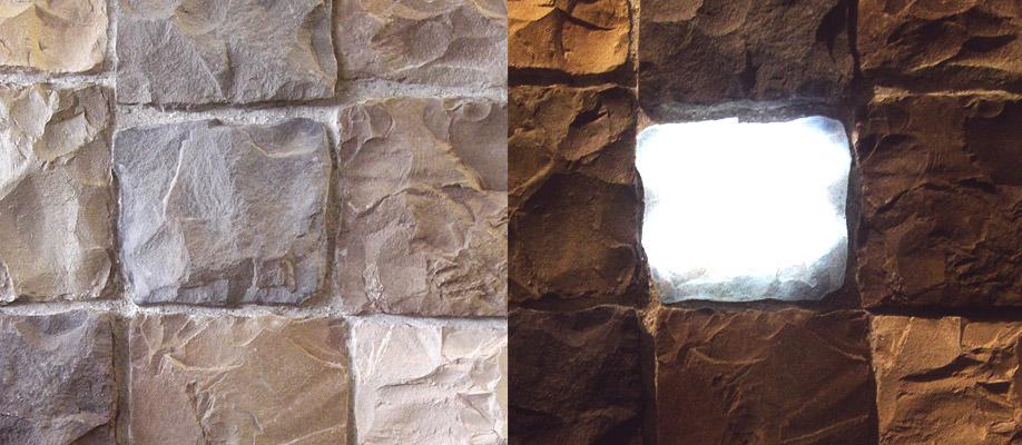 Installazione Pietre Luminose, confronto tra acceso e spento