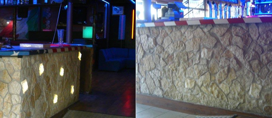 Illuminazione scenografica bancone locale pubblico - Acceso spento