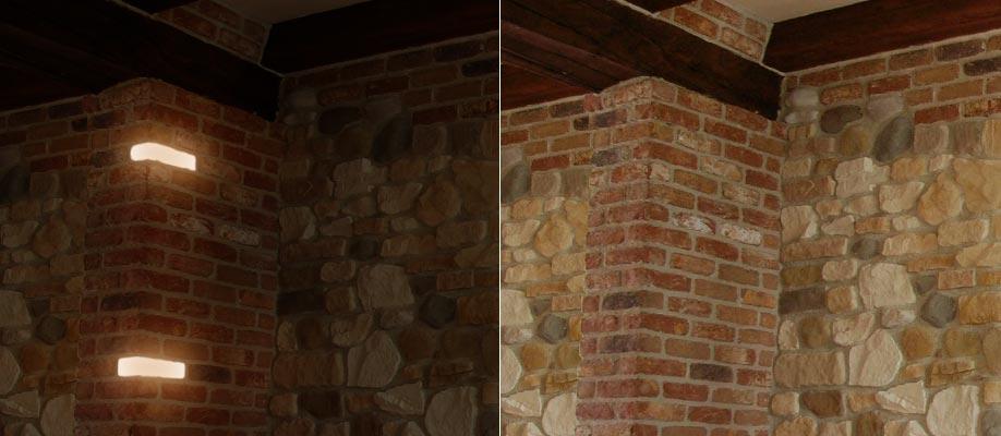 Illuminazione incasso su colonna rustica in mattoni - Acceso spento